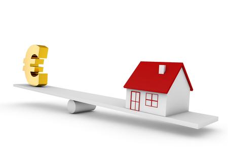 Equilibrio de ilustración 3D de casa y signo de moneda euro Foto de archivo - 88849411