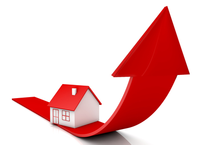 3d illustration house and red arrow growing up on white backgrounds Stockfoto