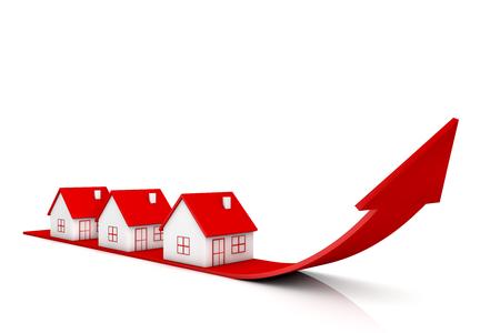3d illustratiehuis en rode pijl die op witte achtergronden groeien