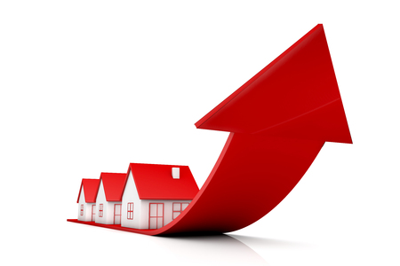 3d illustration house and red arrow growing up on white backgrounds Archivio Fotografico