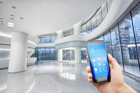 smart phone with smart home and modern hall