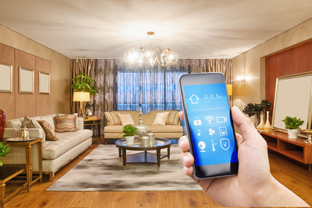 smart phone with smart home and modern living room