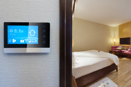 smart screen with smart home and modern bathroom in spring hotel