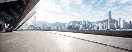 empty marble floor and cityscape of hong kong in blue cloud sky  Foto de archivo