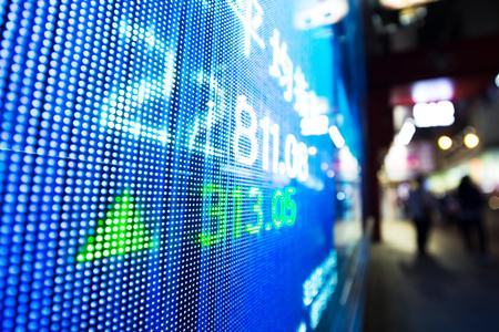 data of stock market on digital screen Stock Photo