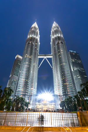night scene of modern landmark buildings in kuala lumpur in clear sky