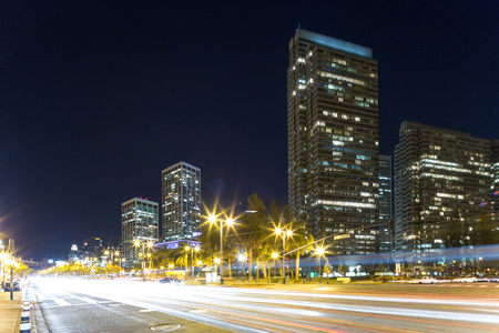 modern buildings in midtown of san francisco at night from road Stock Photo