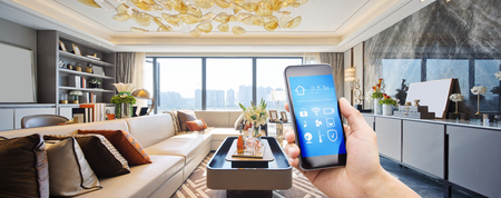 smart home system on mobile phone with background of modern living room 版權商用圖片 - 96660821