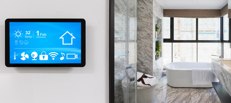 smart home system on intelligence screen on wall and background of modern bathroom Publikacyjne