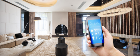 smart phone with apps in modern living room Éditoriale