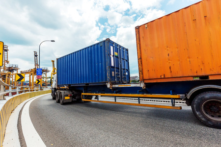 Truck transportation on the road with the blue sky  Stock Photo