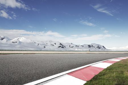 empty asphalt road with snow mountain Stock Photo - 102931159