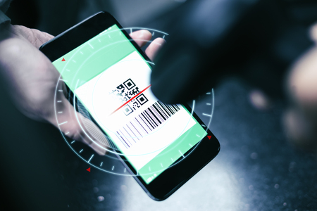 Qr code payment , online shopping , cashless technology concept Stockfoto
