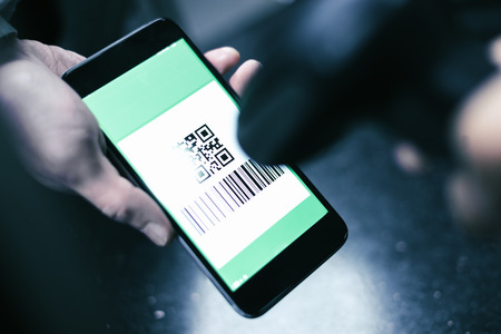 Qr code payment , online shopping , cashless technology concept 写真素材