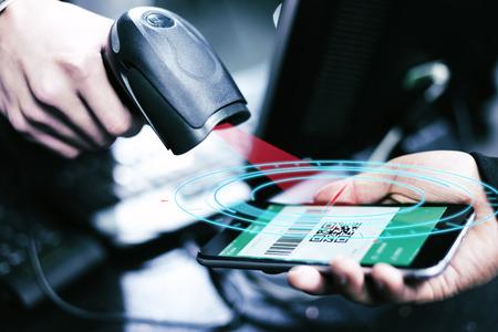 Qr code payment , online shopping , cashless technology concept 写真素材