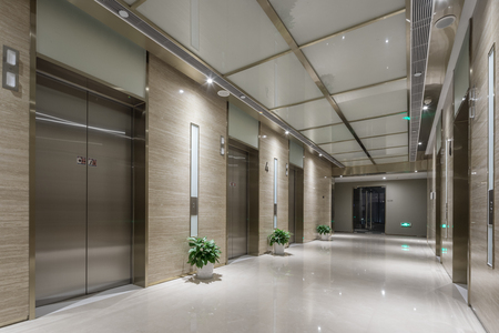 elevator room in modern office building 新聞圖片