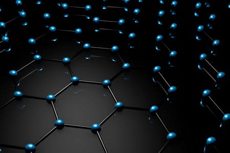 Graphene molecular grid, graphene atomic structure concept, hexagonal geometric form, nanotechnology background 3d rendering Stock Photo