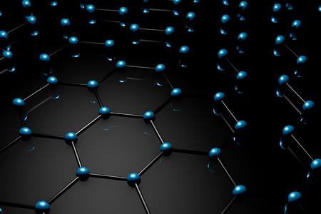 Graphene molecular grid, graphene atomic structure concept, hexagonal geometric form, nanotechnology background 3d rendering Archivio Fotografico