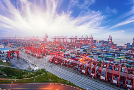 aerial view of shanghai yangshanggang commercial dock in cloud sky