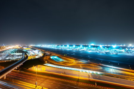 airport in dubai at night