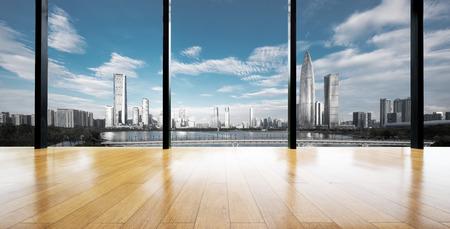 cityscape outside of window