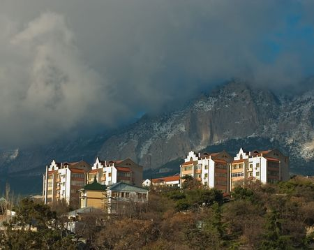 Cloud over small city in Crimea. Ukraine. photo