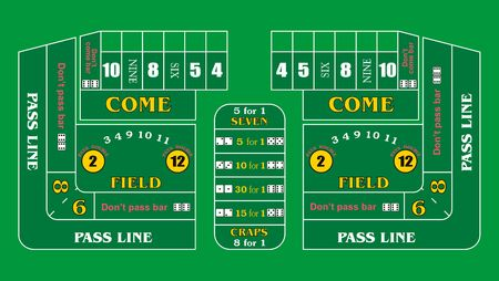 a typical casino craps table layout stock photo picture and royalty rh 123rf com craps table layout printable craps table layout odds