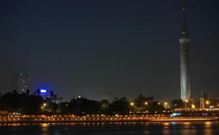 cairo: Night view on the Zamalek island in Cairo Stock Photo