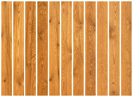 Collection of wood planks textures isolated on white photo