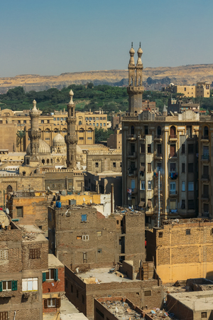 View on slums of old quarter in Cairo from top.