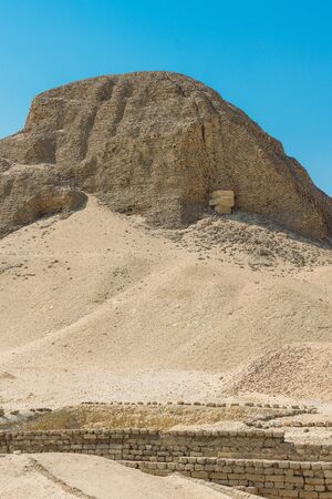 Close up view of the pyramid of Senusret II in Egypt.