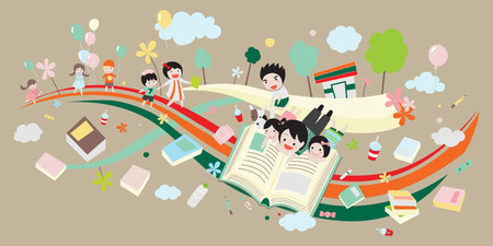 childern: We are going to read lots of interesting book Illustration