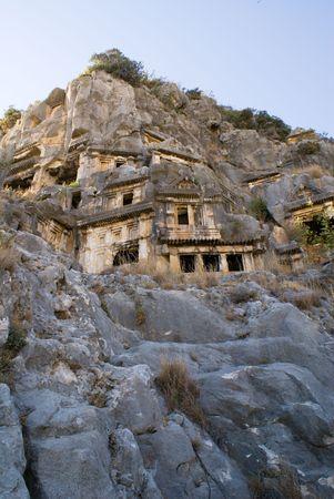 antyk: grobach skał; starożytnych; gór kamieni, drzew Licji; historii starożytności, Turcja, podróży, wypoczynku