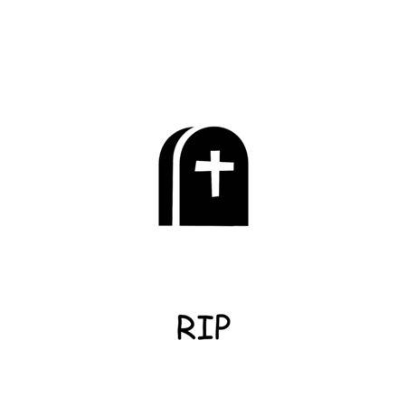 Grave, Rip flat vector icon. Hand drawn style design illustrations.  イラスト・ベクター素材