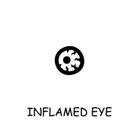 Inflamed Eye, Sore Eye flat vector icon. Hand drawn style design illustrations.