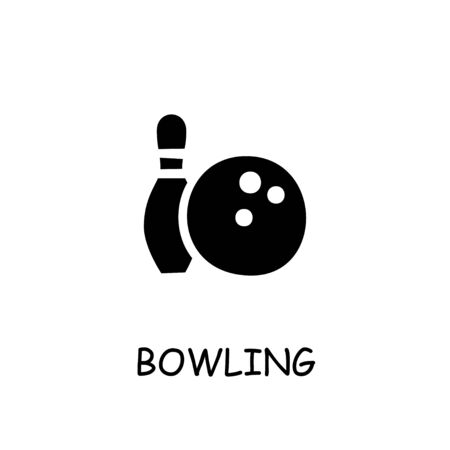 Bowling Game flat vector icon. Hand drawn style design illustrations.