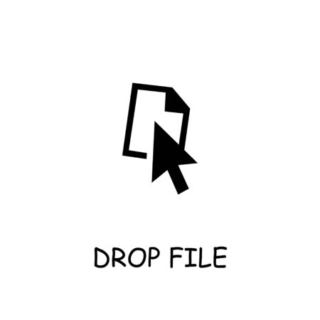 Drop File flat vector icon. Hand drawn style design illustrations.