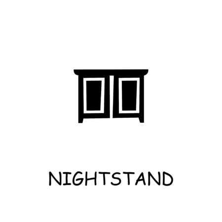 Nightstand flat vector icon. Hand drawn style design illustrations.