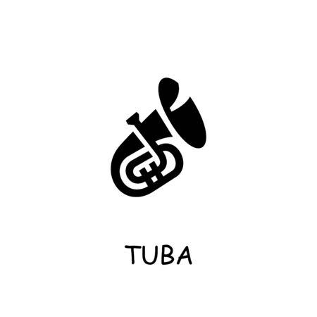 Tuba flat vector icon. Hand drawn style design illustrations.