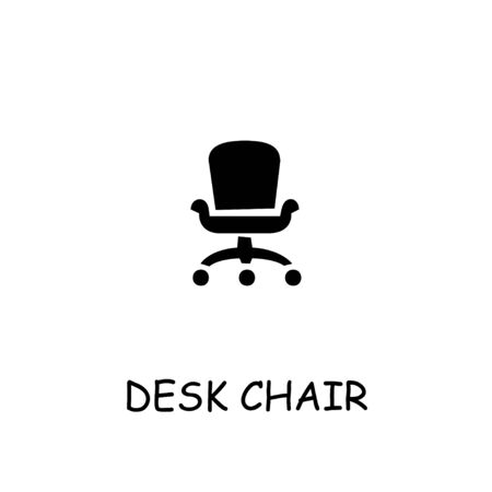 Desk Chair flat vector icon. Hand drawn style design illustrations.