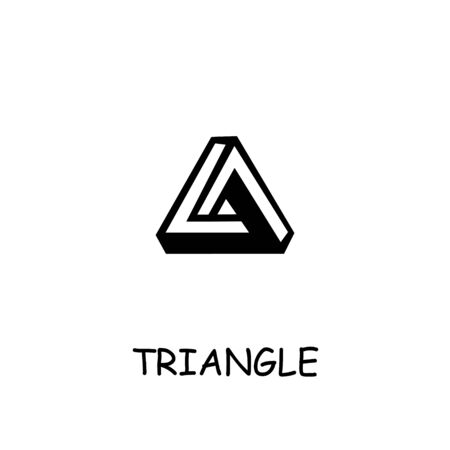 Triangle flat vector icon. Hand drawn style design illustrations.