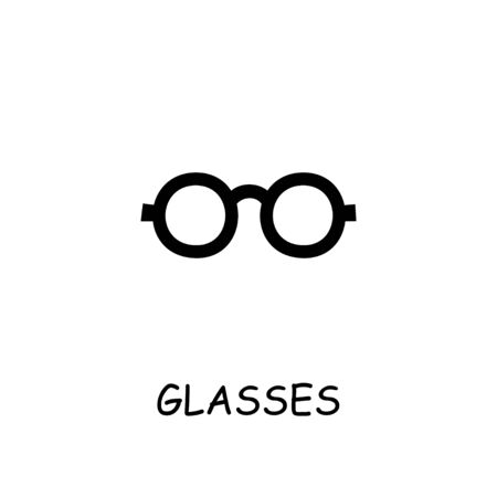 Glasses flat vector icon. Hand drawn style design illustrations.