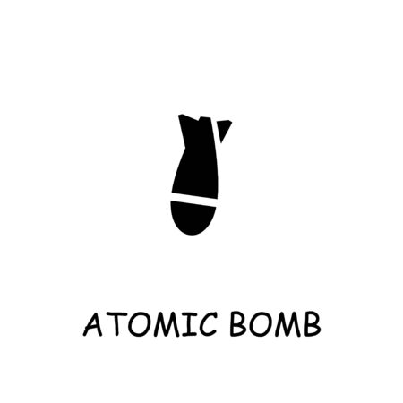 Atomic bomb flat vector icon. Hand drawn style design illustrations.