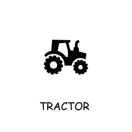 Tractor flat vector icon. Hand drawn style design illustrations. 일러스트