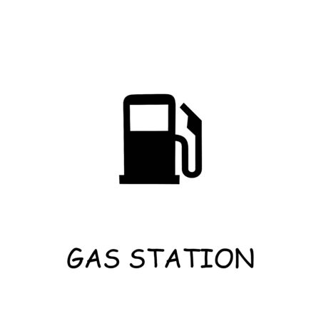 Gas station flat vector icon. Hand drawn style design illustrations.