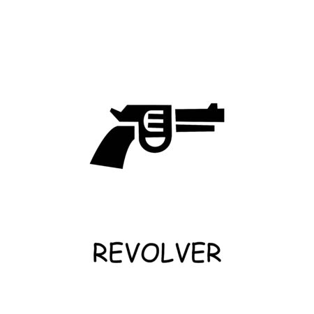 Revolver flat vector icon. Hand drawn style design illustrations.