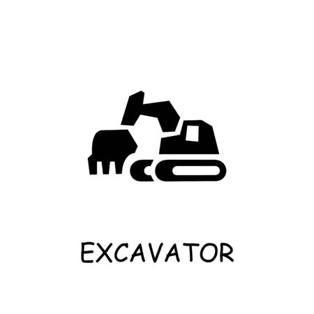 Excavator flat vector icon. Hand drawn style design illustrations.