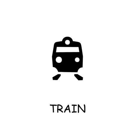 Train flat vector icon. Hand drawn style design illustrations.