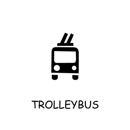 Trolleybus flat vector icon. Hand drawn style design illustrations.