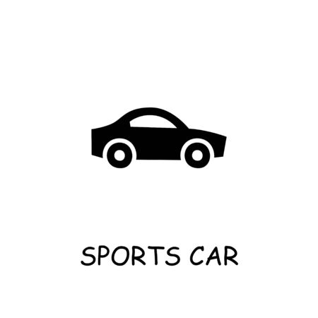 Sports car flat vector icon. Hand drawn style design illustrations.